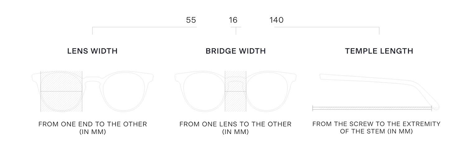 Size guide for the selection of your glasses
